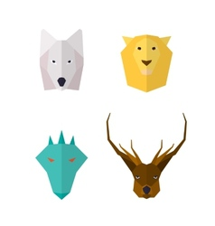 Wild animals flat icons vector image