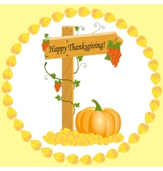 Wooden arrow with grapes and pumpkins thanksgiving vector