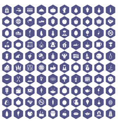 100 vegetarian cafe icons hexagon purple vector