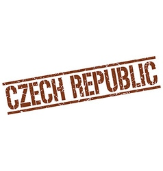 Czech republic brown square stamp vector