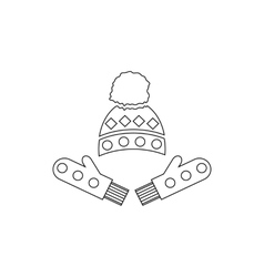 Winter mittens and cap icon outline style vector image