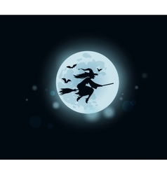 Old witch flying on broomstick at midnight vector