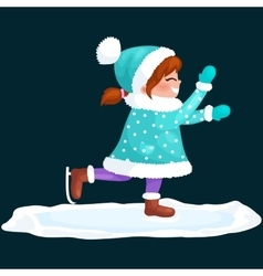 Girl outdoor skating ice isolated fun winter vector