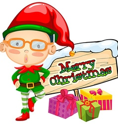 Christmas theme with elf and present boxes vector image