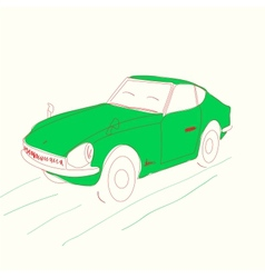 Cartoon green car - vector