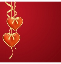 two hearts valentine background vector image