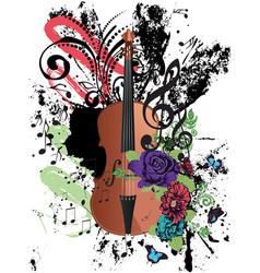 Grunge violin vector