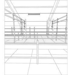 Wire-frame industrial building indoor on the white vector