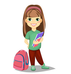 Cute girl with books in casual clothes stands vector