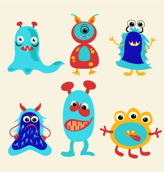 Cute cartoon monsters icons set vector