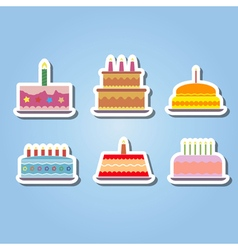 Color icons with birthday cake vector