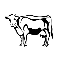 Silhouette of cow vector