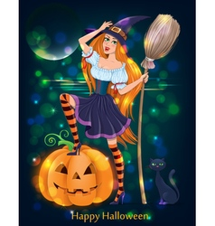 Halloween girl night vector