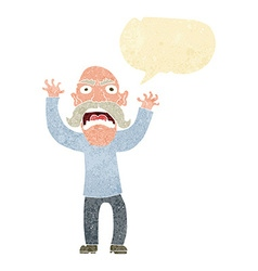 Cartoon angry old man with speech bubble vector