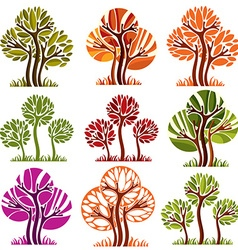 Art drawn colorful trees spring and autumn season vector