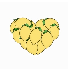 Modern lemon in the form of heart isolated vector