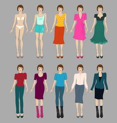 Flat fashion models vector