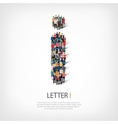 Group people shape letter i vector