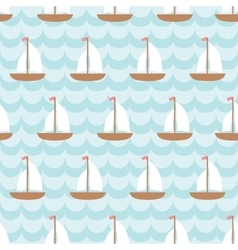 Seamless pattern with sailing ship in the sea vector