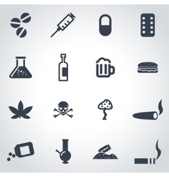 Black drugs icon set vector