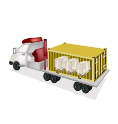 A trailer loading wooden crates in cargo container vector
