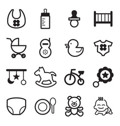Basic baby icons set vector