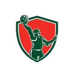 Basketball Player Rebounding Lay-Up Ball Shield vector image vector image