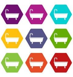 bathtub icon set color hexahedron vector image