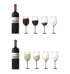 Bottles of red and white wine with glasses vector image