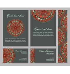 cards collection with mandala circular vector image