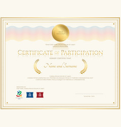 certificate of participation template gold tone vector image vector image