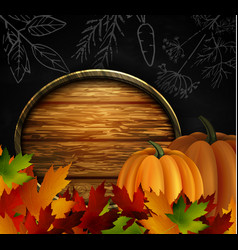 chalkboard with autumn leaves and pumpkins vector image