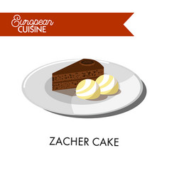 Chocolate zacher cake with ice cream balls from vector
