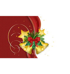 christmas wish with golden bells ribbon needles vector image