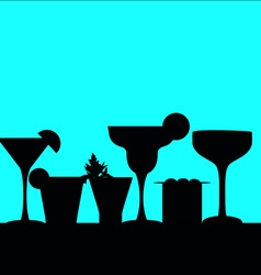 cocktail silhouettes in a row vector image
