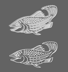 Decorative 3d Relief and Original Fish vector image vector image