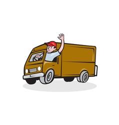Delivery man waving driving van cartoon vector