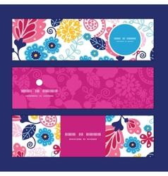 Fairytale flowers horizontal banners set vector