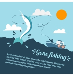 Fishing boat poster vector