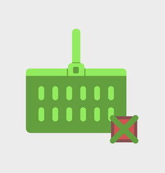 Flat icon of supermarket basket vector