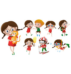 girl with glasses doing different activities vector image vector image