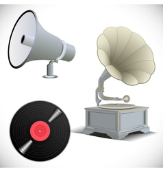Gramophone megaphone vinyl record vector image
