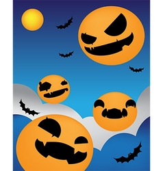 Halloween background face up night vector