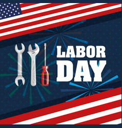 Labor day flag tools fireworks festival symbol vector