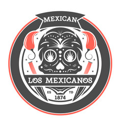 Los amigos isolated label with mexican skull vector