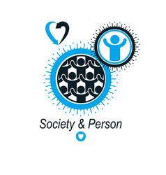 Mankind and person conceptual logo unique symbol vector