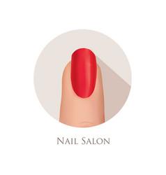 nail polished finger sign nail beauty salon icon vector image vector image