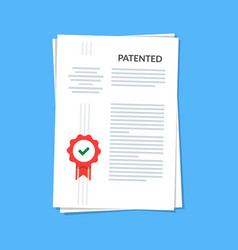 patented document with approved stamp registered vector image vector image