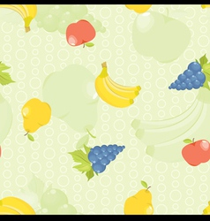 Seamless background with cartoon fruit apples pear vector