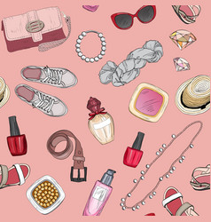 Seamless pattern with cosmetics and accessories vector